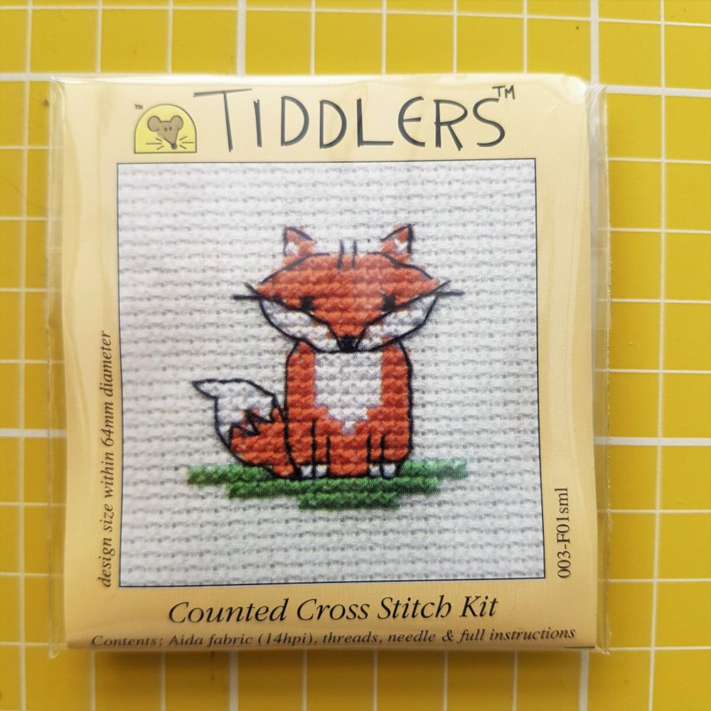 Mouseloft tiddlers cross stitch embroidery fox
