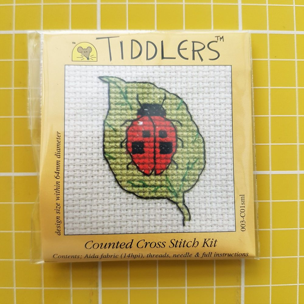 Mouseloft tiddlers cross stitch embroidery lady bird
