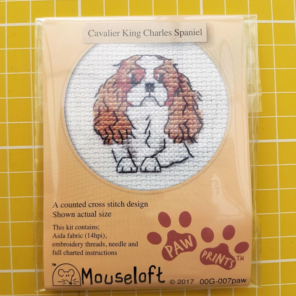 Mouseloft paw prints cross stitch embroidery cavalier king charles spaniel