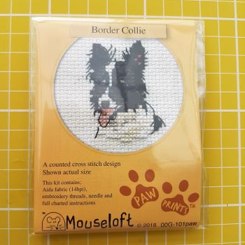 Mouseloft paw prints cross stitch embroidery border collie