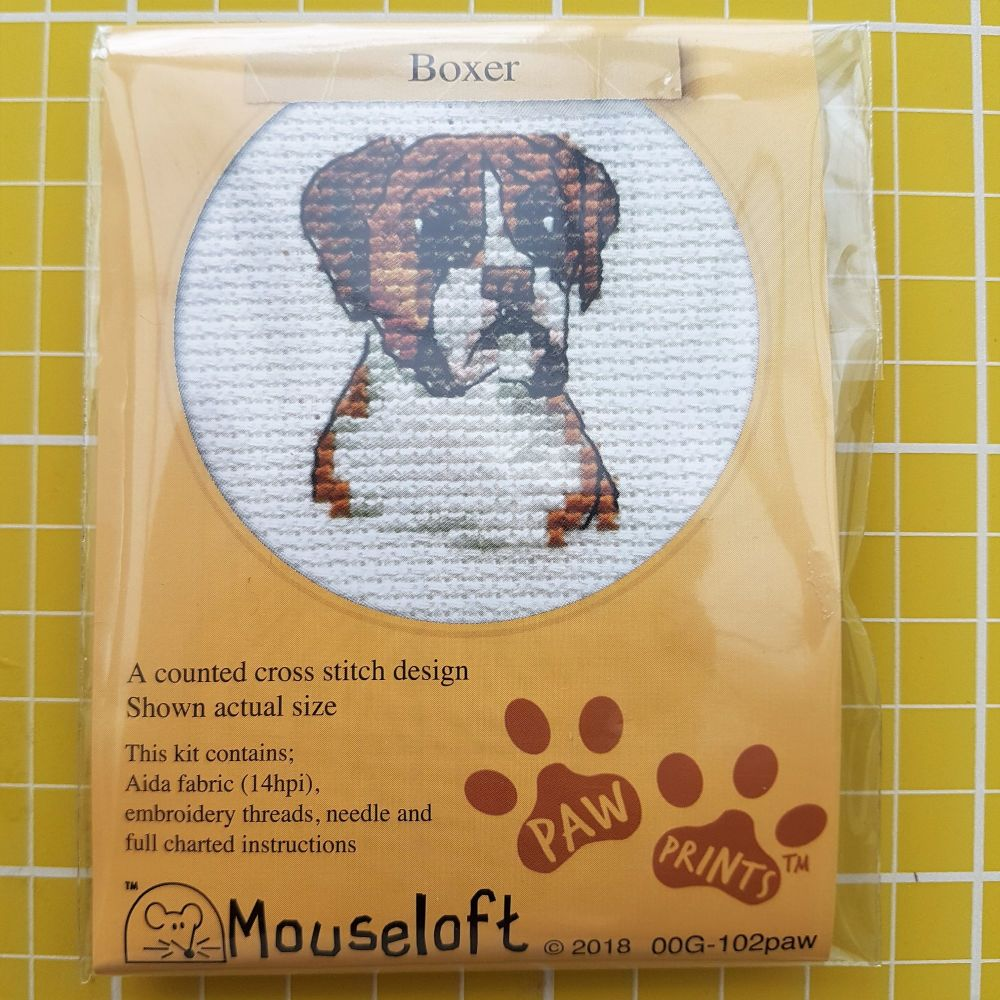 Mouseloft paw prints cross stitch embroidery boxer