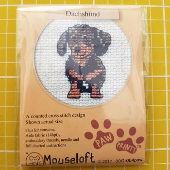 Mouseloft paw prints cross stitch embroidery dachshund