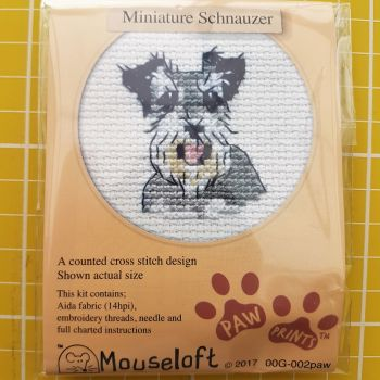 Mouseloft paw prints cross stitch embroidery miniature schnauzer