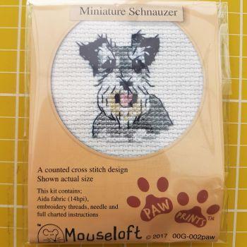 Mouseloft paw prints cross stitch embroidery miniature schnauzer