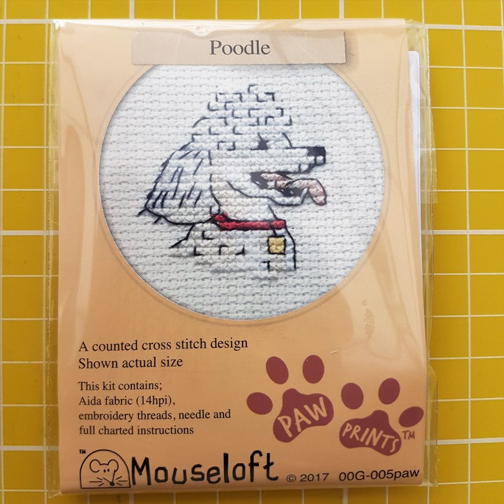 Mouseloft paw prints cross stitch embroidery poodle