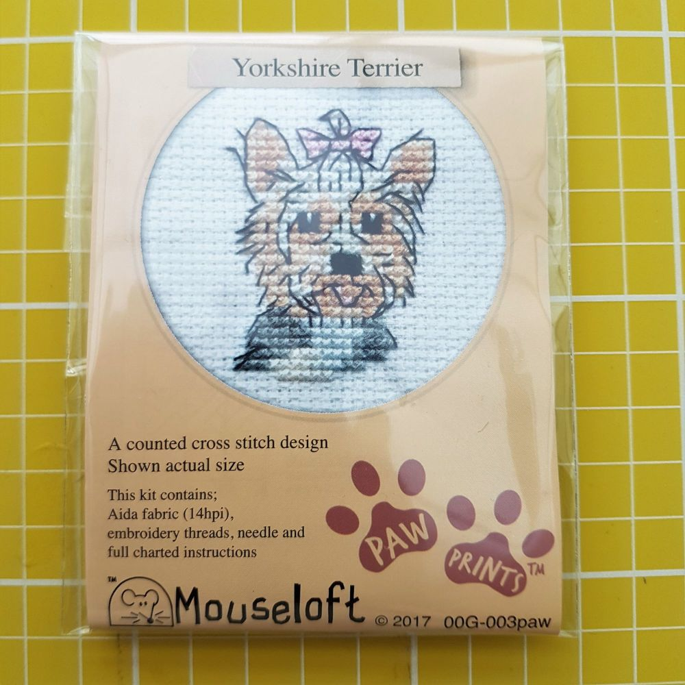 Mouseloft paw prints cross stitch embroidery yorkshire terrier
