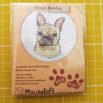 Mouseloft paw prints cross stitch embroidery french bulldog