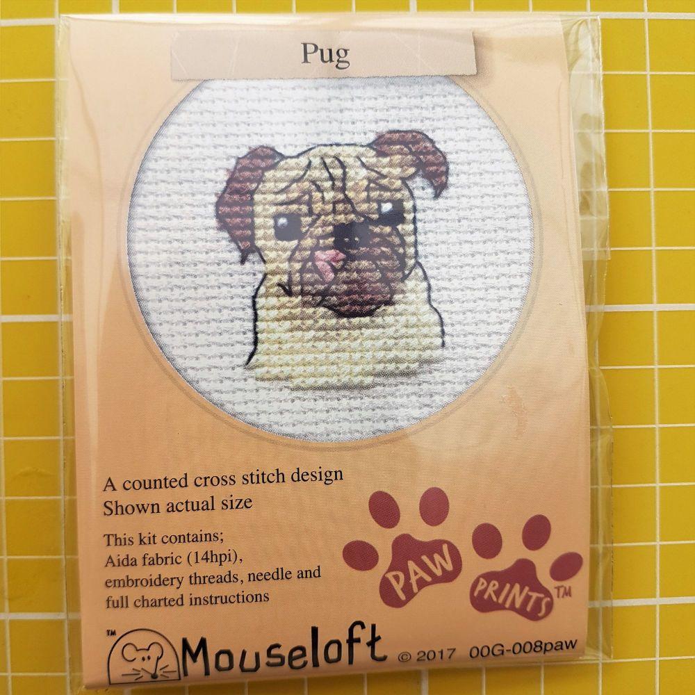 Mouseloft paw prints cross stitch embroidery pug