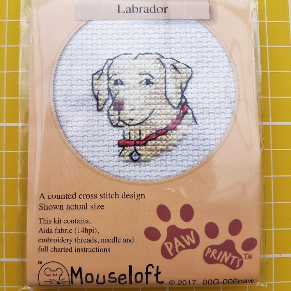 Mouseloft paw prints cross stitch embroidery labrador