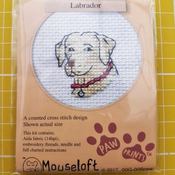 Mouseloft paw prints cross stitch embroidery labrador