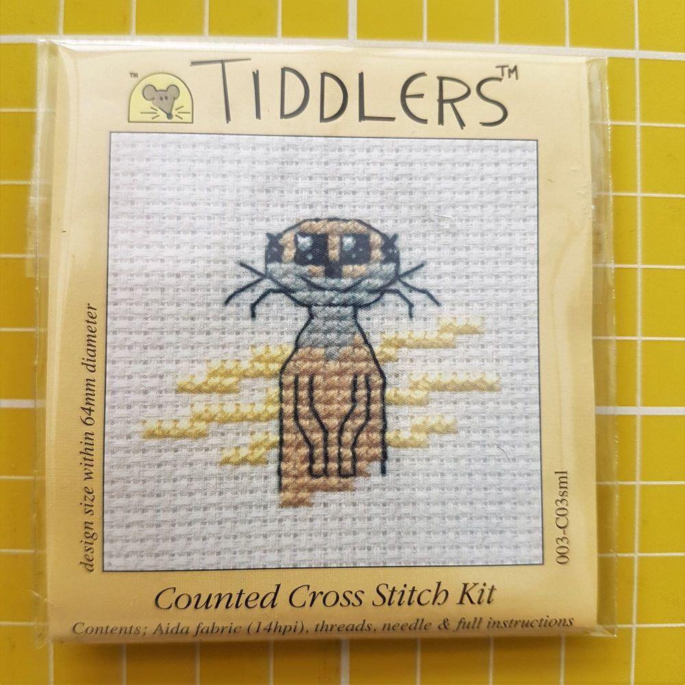 Mouseloft tiddlers cross stitch embroidery meerkat