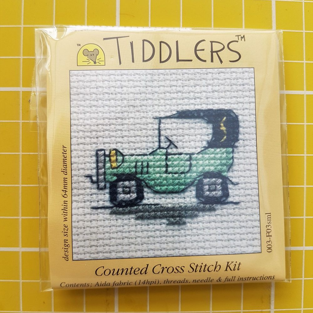 Mouseloft tiddlers cross stitch embroidery vintage car