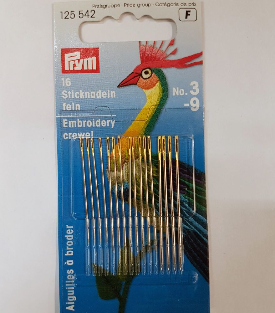 Prym 125-542 embroidery needles No3-9 16 pce