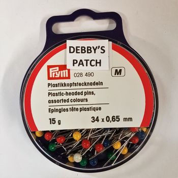 Prym 024-490 Plastic headed assorted colours pins 34mm x 0,65mm 15g