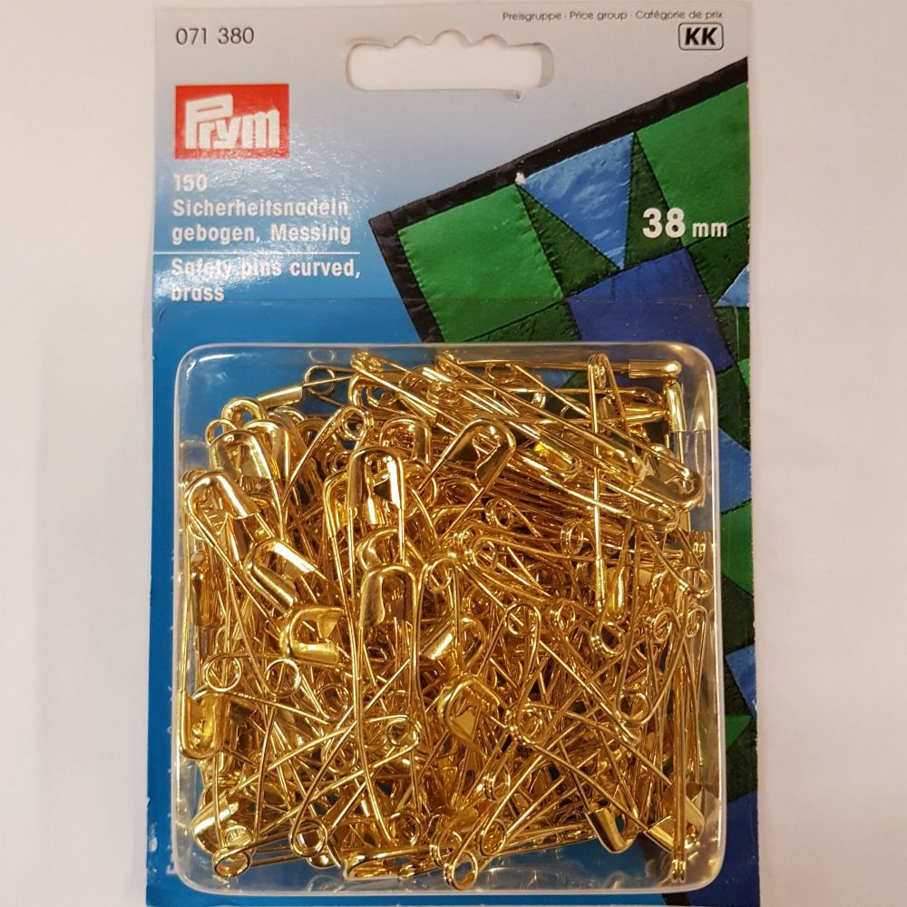 prym 071-380 Safety pins curved brass 38mm x 30