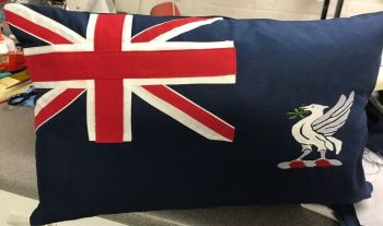 "Flag cushion Blue Ensign of The Training Ship Indefatigable 19"" x 12"" approx made to order"