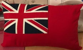 "Flag cushion Red Ensign (Merchant Navy) 19"" x 12"" approx made to order"