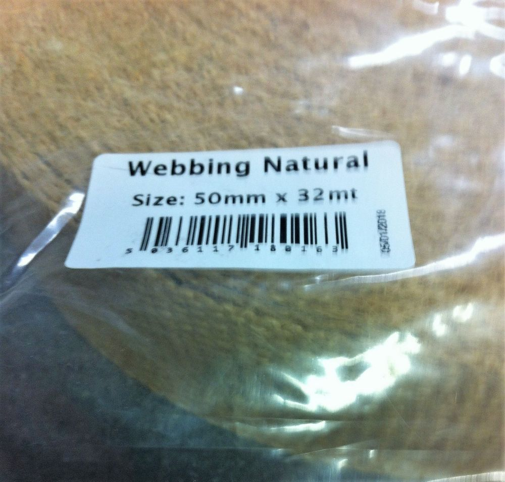 hessian natural webbing for rag rugging 50mm (2