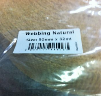 "hessian natural webbing for rag rugging 50mm (2"") by the meter"