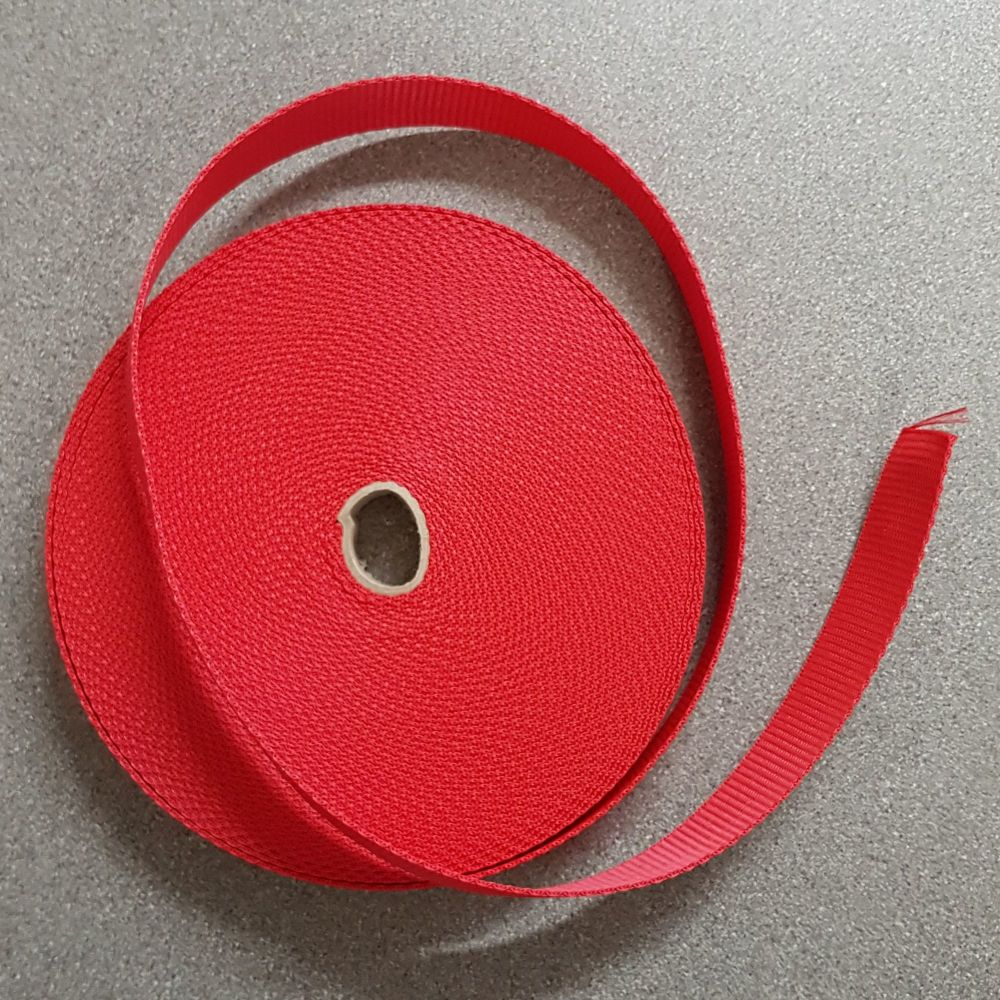 Bag handle webbing red 25mm 1
