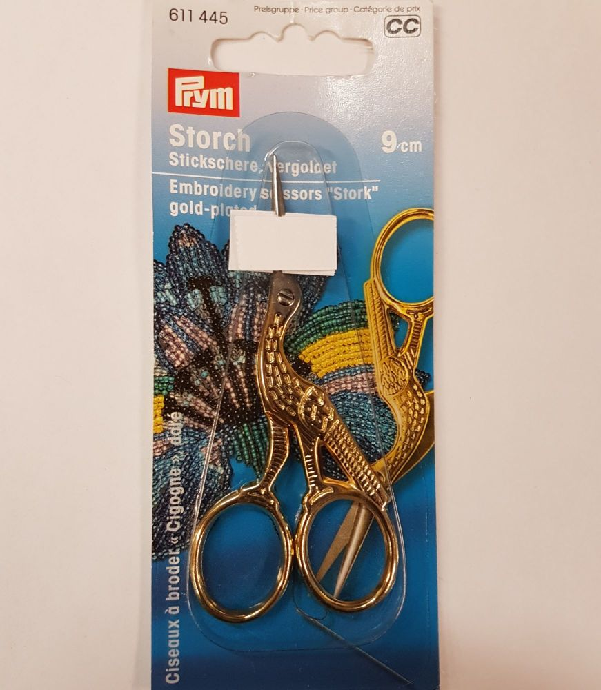 prym Gold Plated Stork Embroidery Scissors