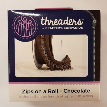 Threaders zip on a roll 5 mtr 10 sliders - chocolate
