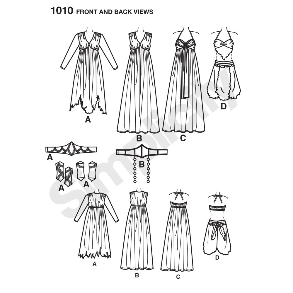 simplicity-costumes-pattern-1010-front-back-view