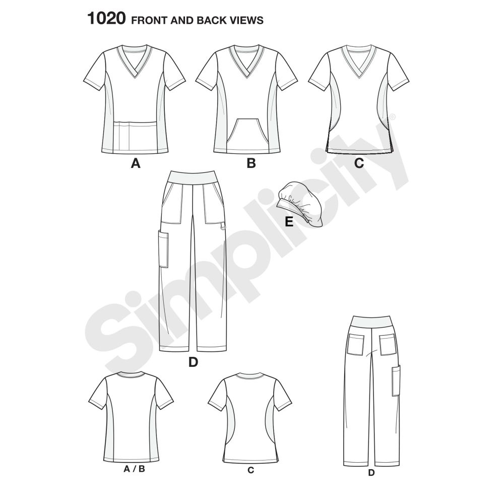 simplicity-unisex-scrubs-pattern-1020-front-back-view