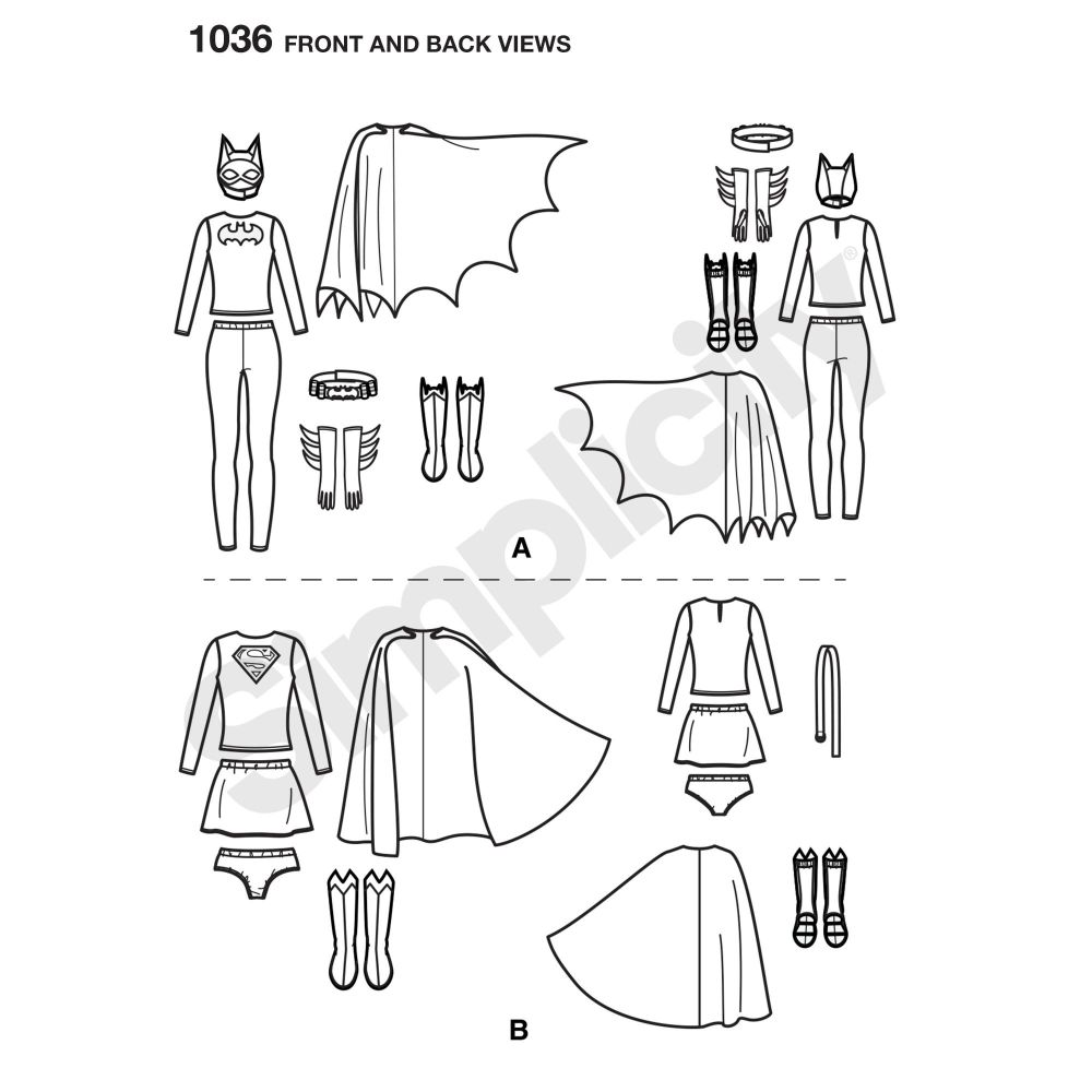 simplicity-costumes-pattern-1036-front-back-view