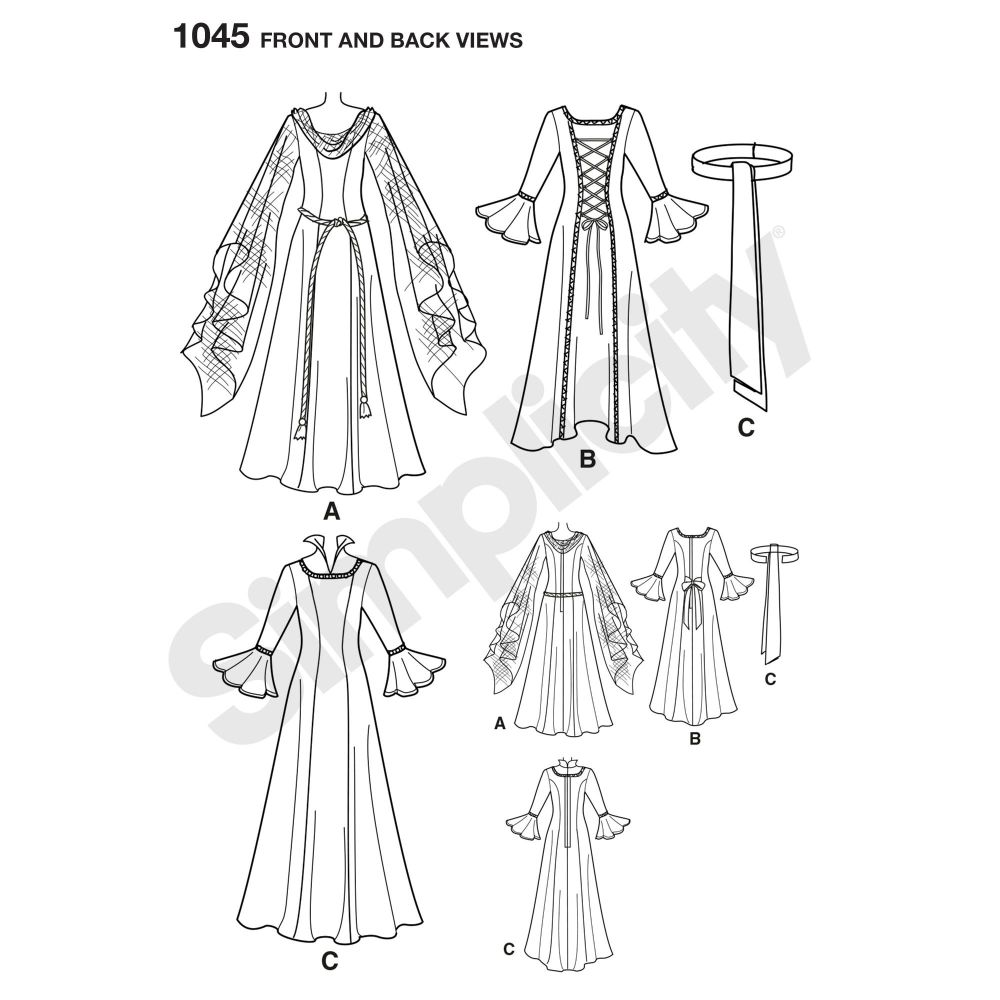 simplicity-costumes-pattern-1045-front-back-view