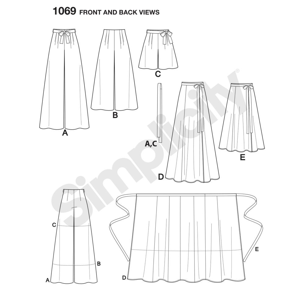simplicity-skirts-pants-pattern-1069-front-back-view