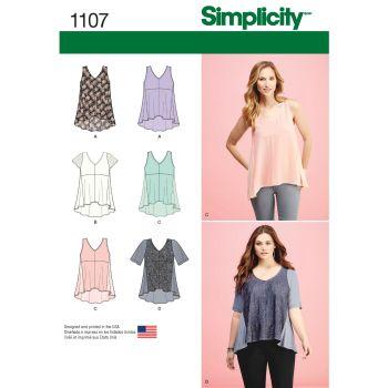 S1107 Simplicity sewing pattern A (XXS XS S M L XL XXL)