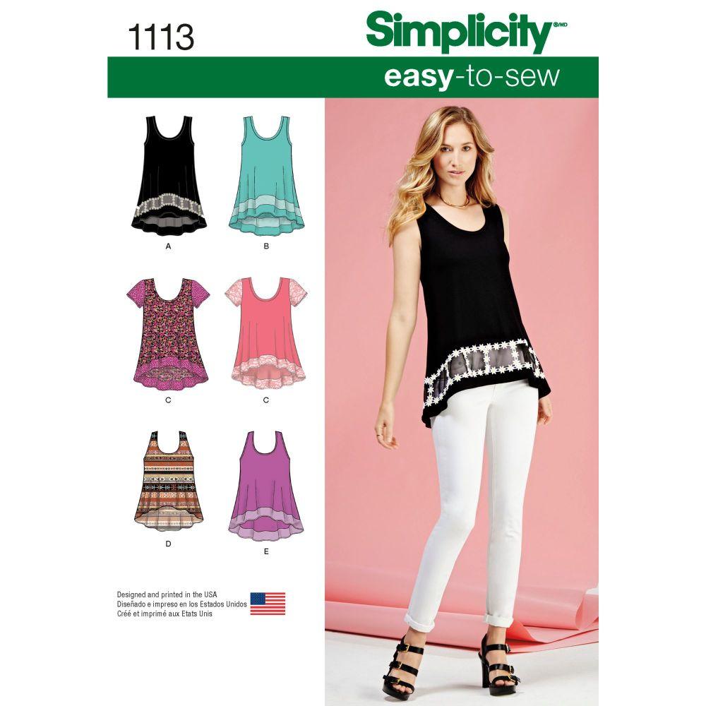 S1113 Simplicity sewing pattern A (XXS XS S M L XL XXL)