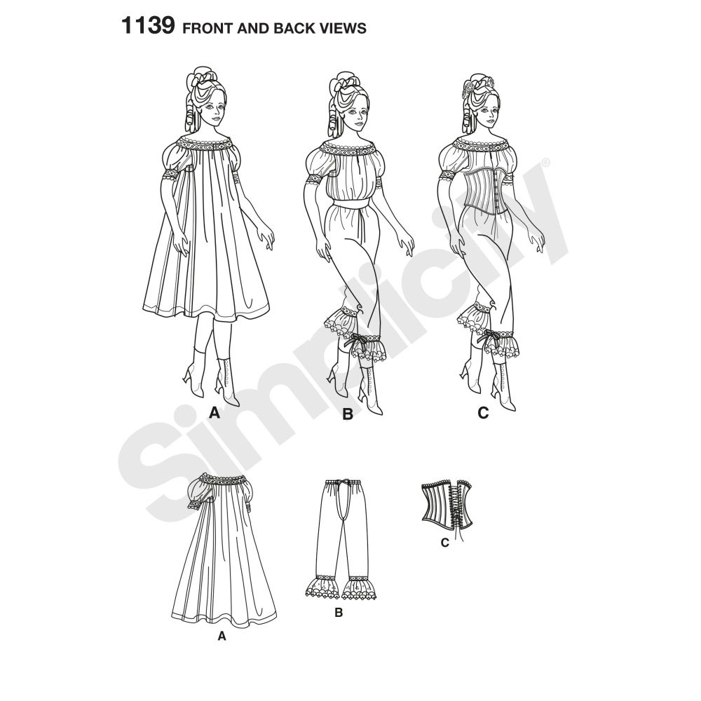 simplicity-costumes-pattern-1139-front-back-view