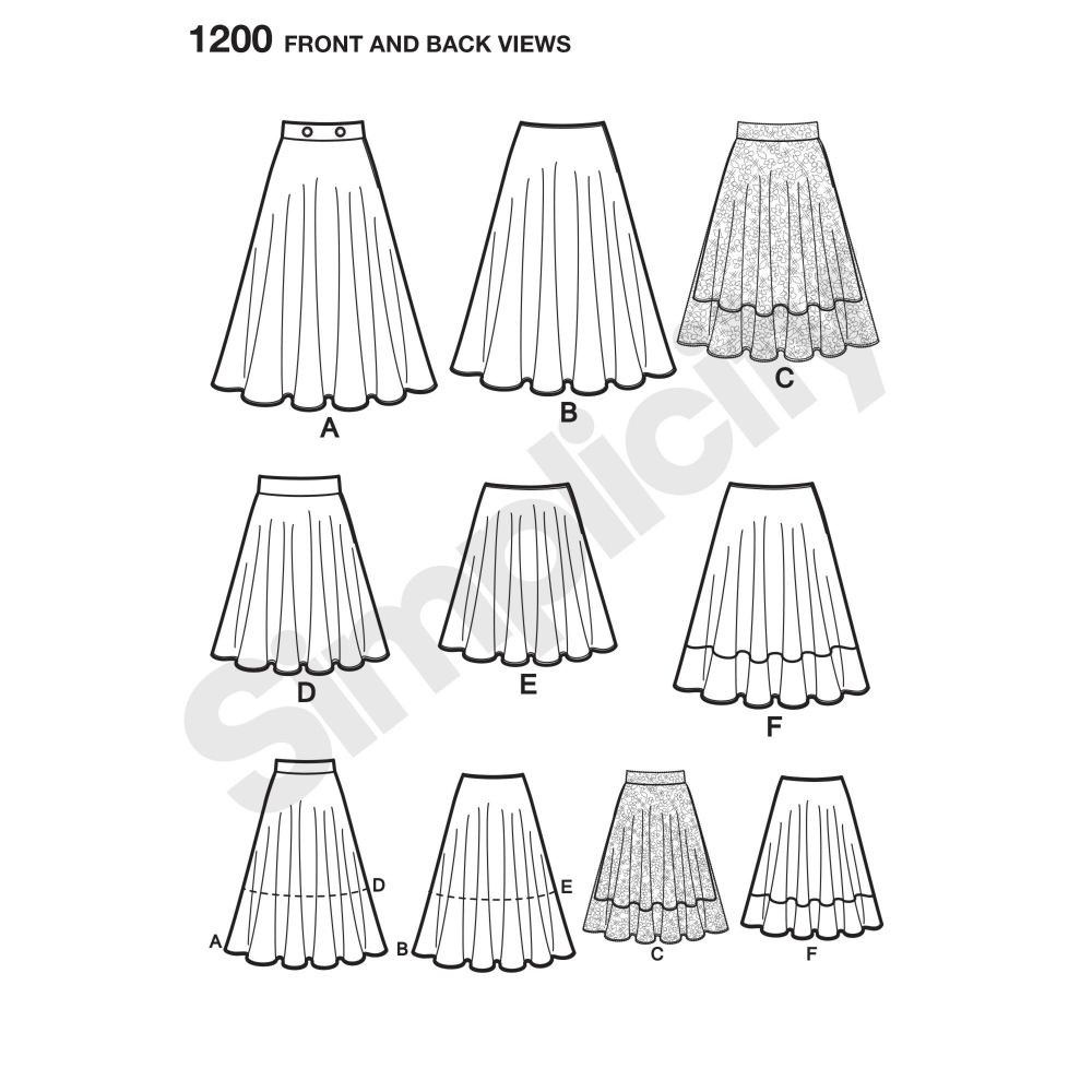 simplicity-skirts-pants-pattern-1200-front-back-view