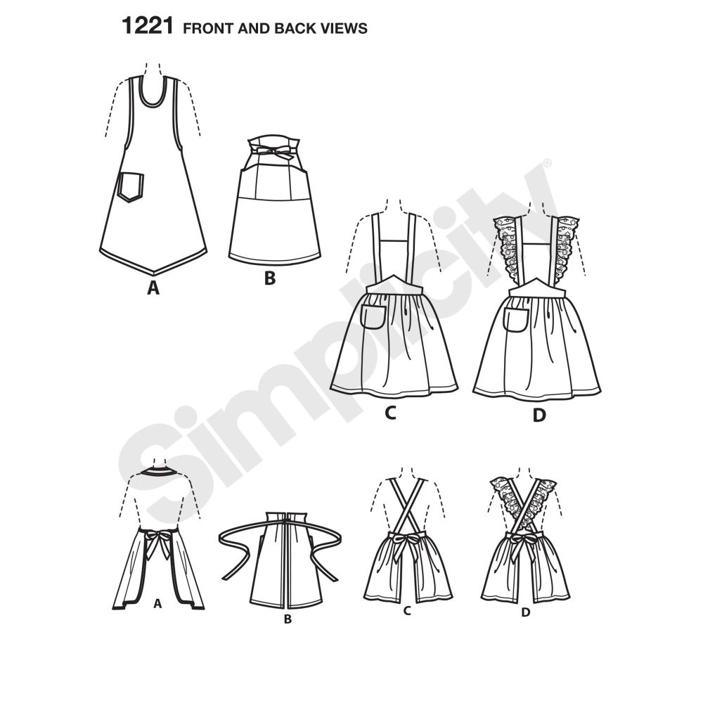 simplicity-aprons-pattern-1221-front-back-view