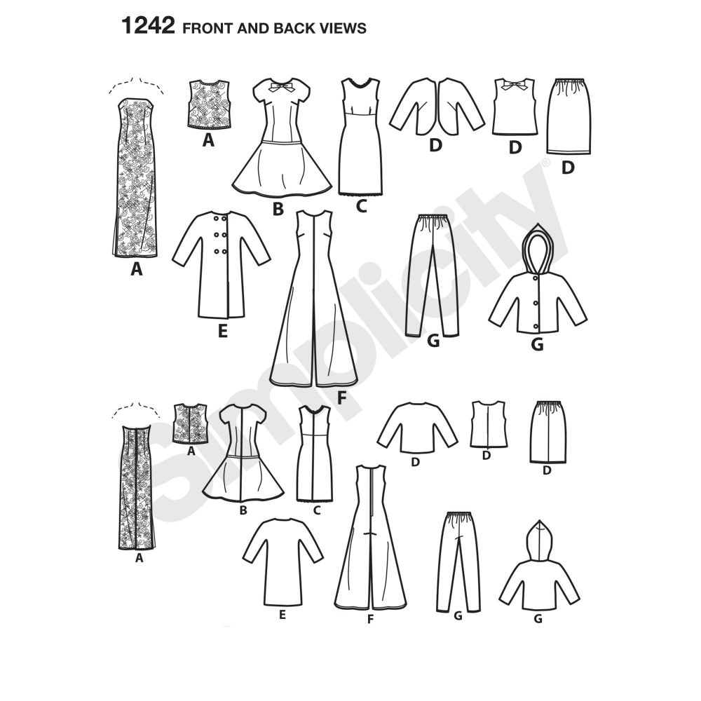 simplicity-doll-clothing-pattern-1242-front-back-view