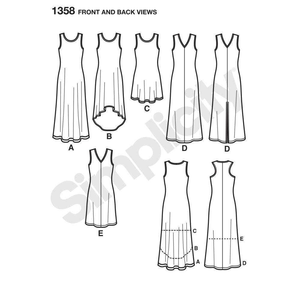 simplicity-dresses-pattern-1358-front-back-view