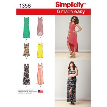 S1358 Simplicity sewing pattern A (XXS-XS-S-M-L-XL-XXL)