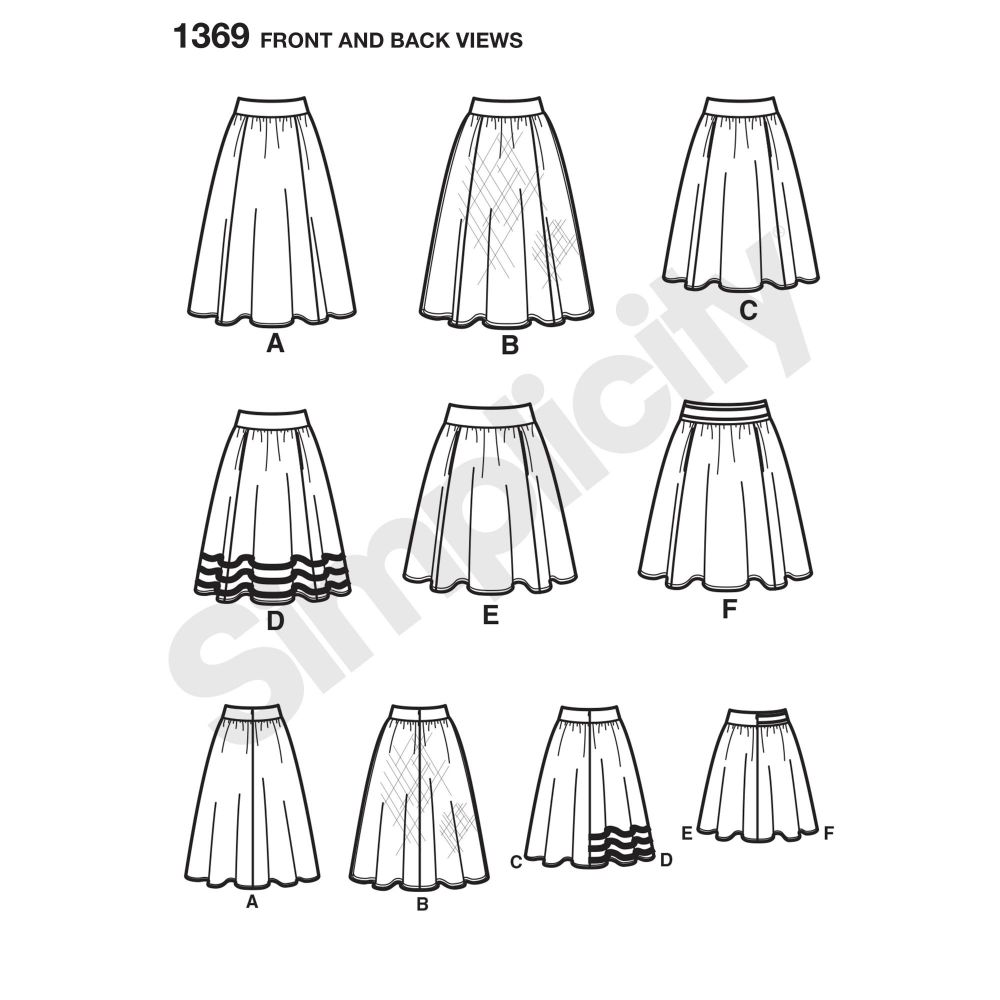 simplicity-skirts-pants-pattern-1369-front-back-view