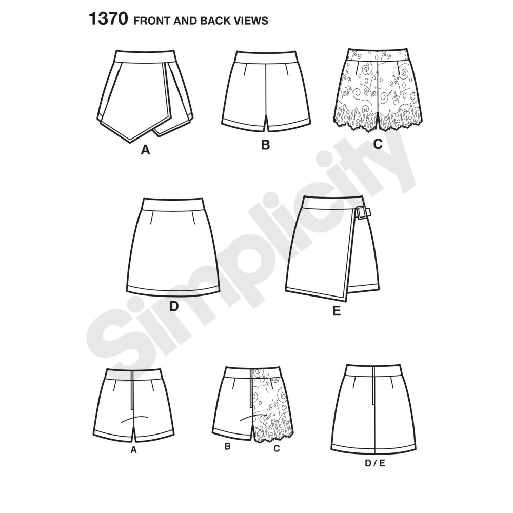 simplicity-skirts-pants-pattern-1370-front-back-view