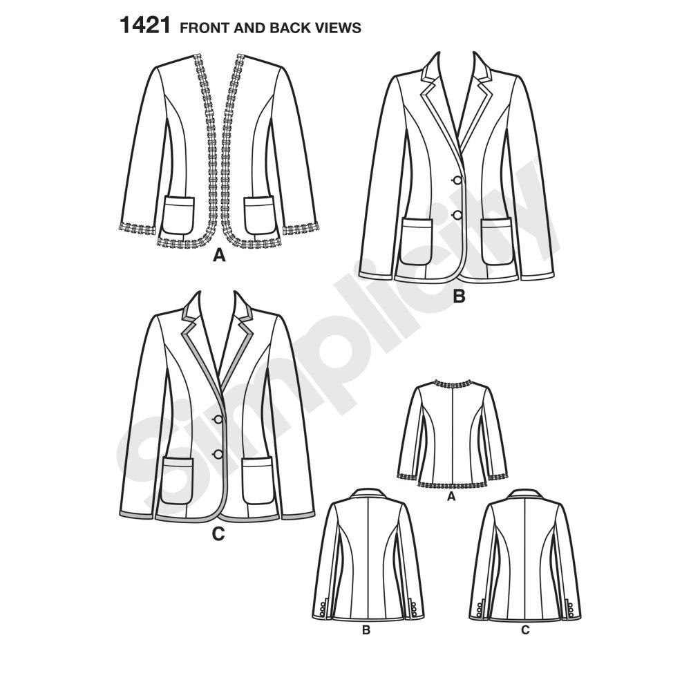 simplicity-jackets-coats-pattern-1421-front-back-view