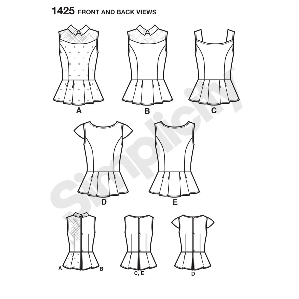 simplicity-tops-vests-pattern-1425-front-back-view