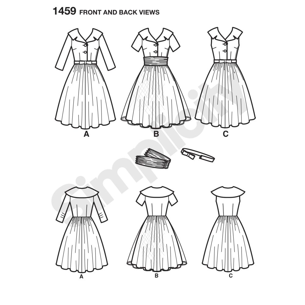 simplicity-dresses-pattern-1459-front-back-view