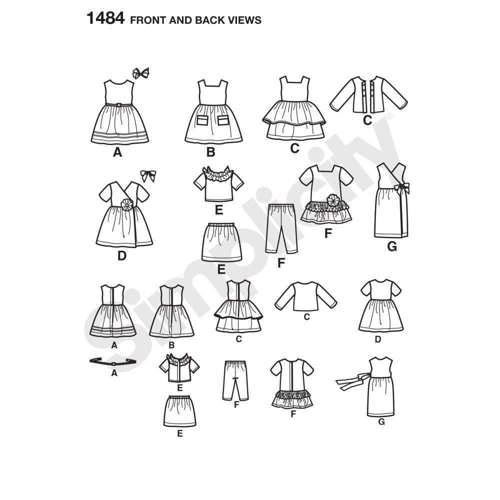 simplicity-doll-clothing-pattern-1484-front-back-view