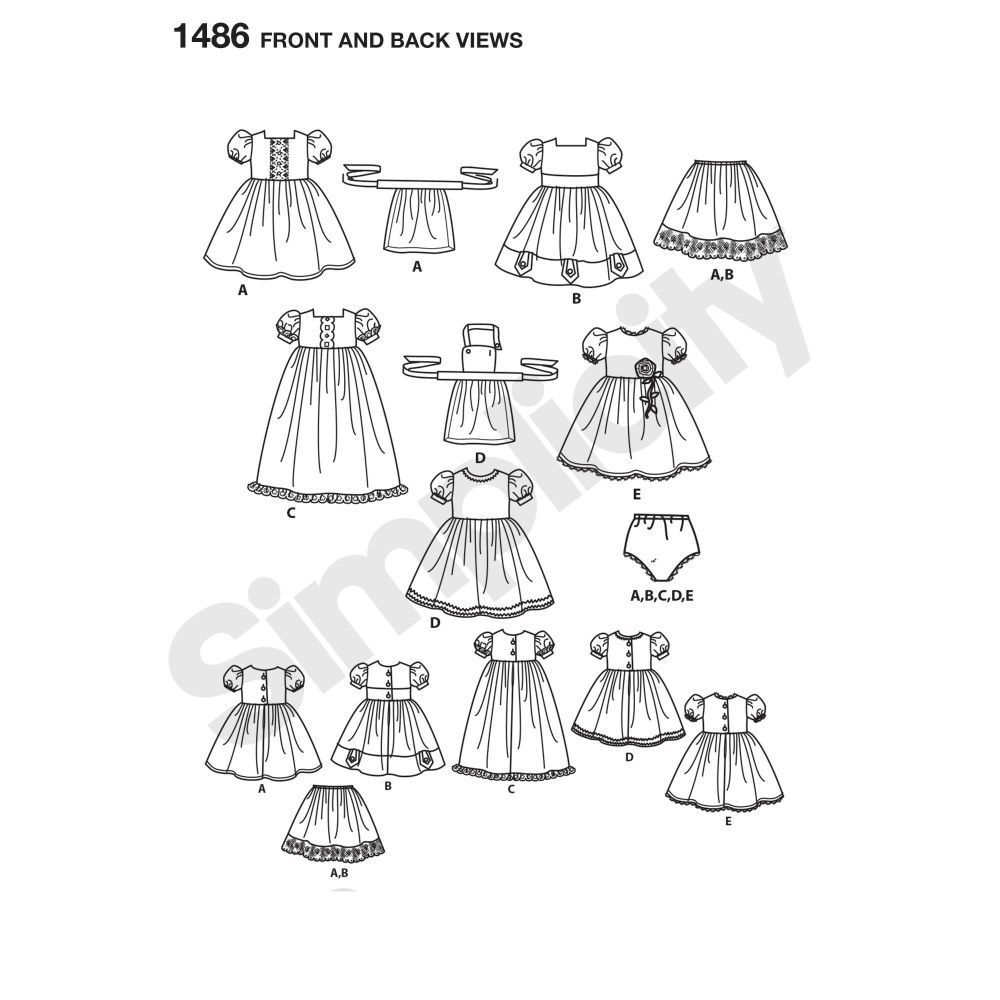 simplicity-doll-clothing-pattern-1486-front-back-view