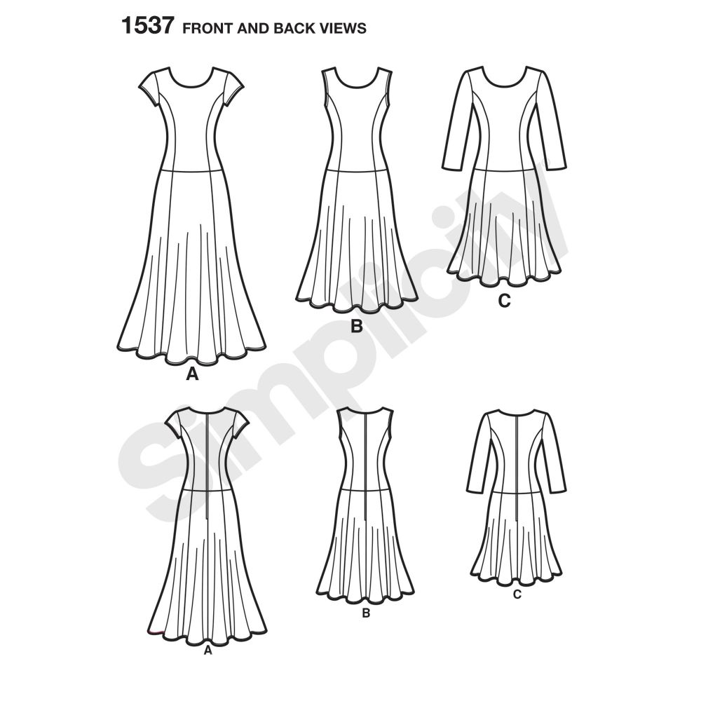 simplicity-dresses-pattern-1537-front-back-view