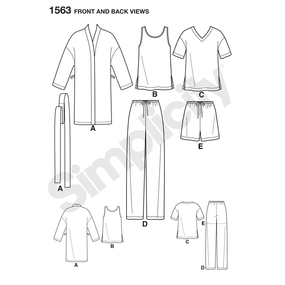simplicity-unisex-scrubs-pattern-1563-front-back-view