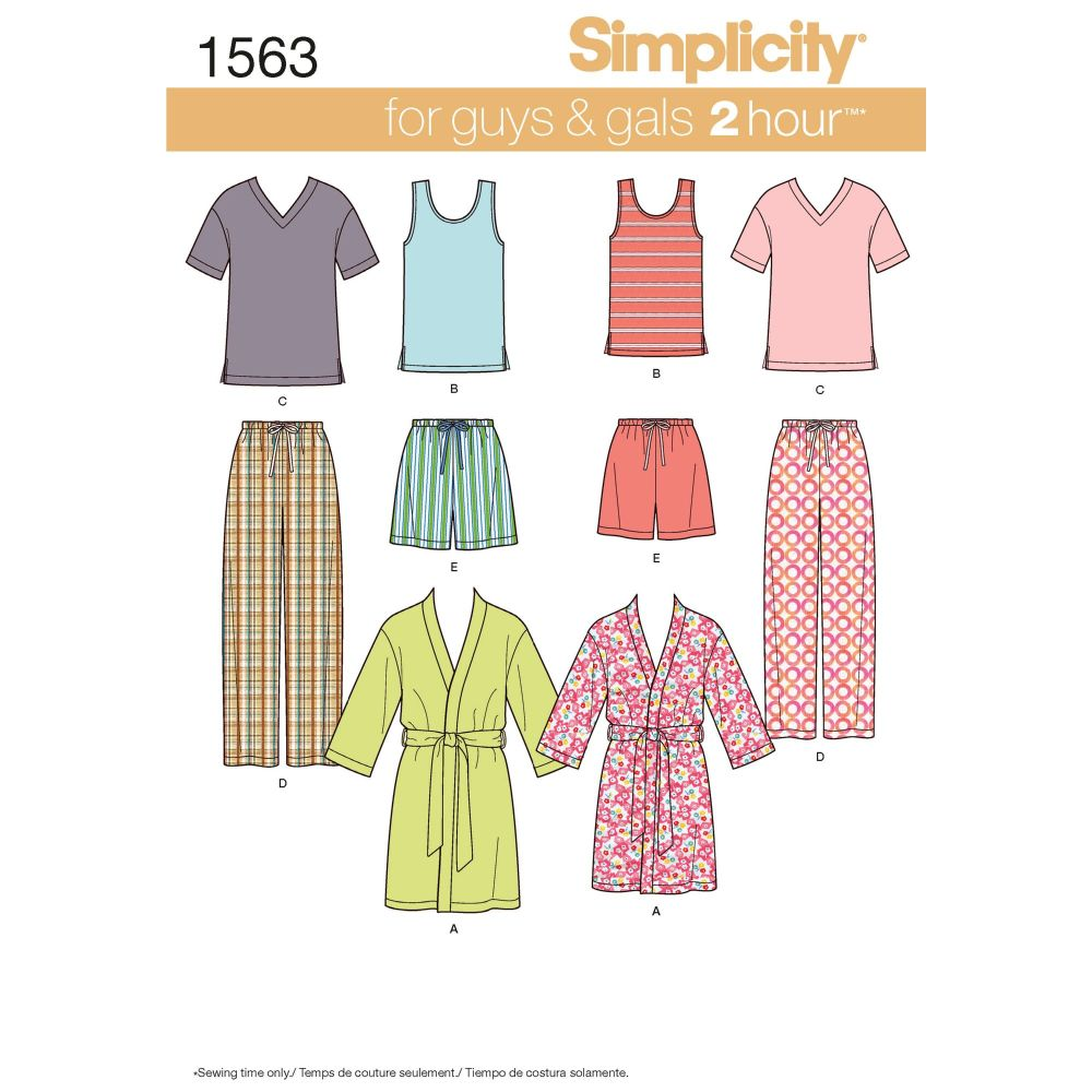 S1563 Simplicity sewing pattern A (XS-S-M-L-XL)