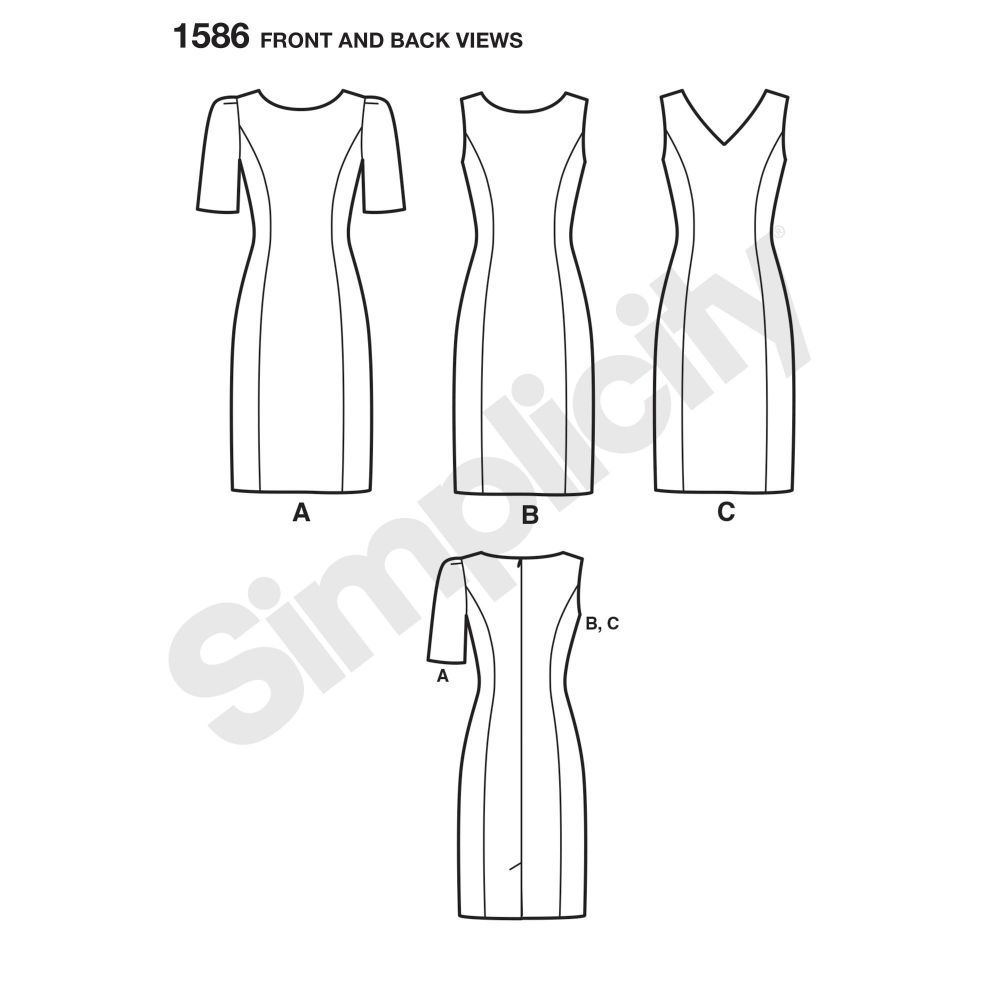 simplicity-dresses-pattern-1586-front-back-view
